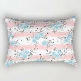 Pink teal watercolor modern stripes floral dots Rectangular Pillow