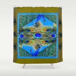 BLUE PEACOCKS KHAKI COLOR  FEATHER PATTERNS ART Shower Curtain