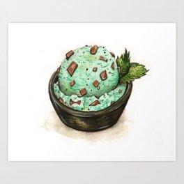 Mint Chocolate Chip Ice Cream Art Print