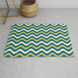 Off White, Dark Yellow and Tropical Dark Teal Inspired by Sherwin Williams 2020 Trending Color Oceanside SW6496 Wavy Horizontal Stripe Line Pattern Rug
