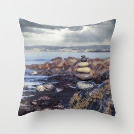 Rock Balancing At The Beach Throw Pillow
