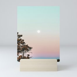 Rainbow Color Sunset // Incredible Clear Sky Photograph Through the Forest Trees Mini Art Print
