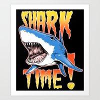 shark Art Prints featuring Shark by Silver Larrosa