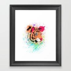 SPLASH OF TIGER. Framed Art Print