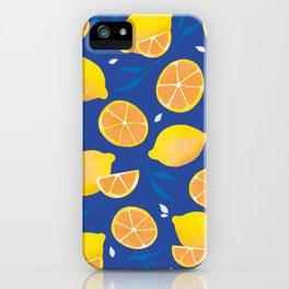 Mediterranean Lemons - Cobalt Blue iPhone Case