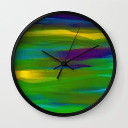 Green Mardi Gras Abstract Wall Clock