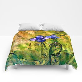 Wild blue flax Comforters