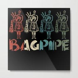 Retro Bagpipe Distressed Metal Print