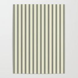 Mattress Ticking Wide Striped Pattern in Dark Black and Beige Poster