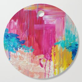 ELATED - Beautiful Bright Colorful Modern Abstract Painting Wild Rainbow Pastel Pink Color Cutting Board