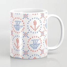 Folkloric Embroidery Sampler Stitches Seamless Vector Pattern Coffee Mug
