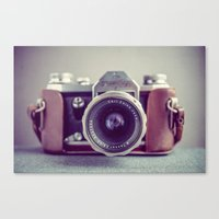 vintage camera Canvas Prints featuring Vintage Camera by Juste Pixx Photography