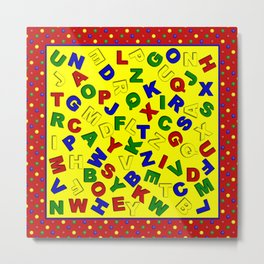 Primary Polka Dots RED Alphabet  Metal Print