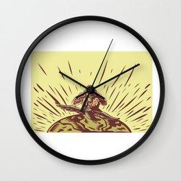 Tagaloa Releasing Bird Plover Earth Woodcut Wall Clock