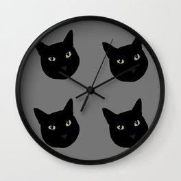 can I pet your cat? no. black cat portrait Wall Clock