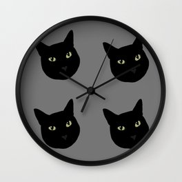 can I pet your cat? no. black cat portrait Wall Clock