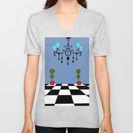 A Chandler with Checkered Tile and Topiaries Unisex V-Neck