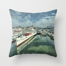Paddle Boats of Lake Lucerne Throw Pillow