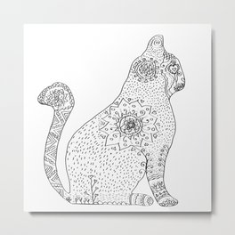Mandala Cat Metal Print