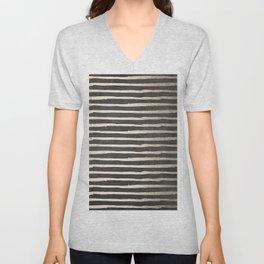 White Gold Sands Thin Stripes on Black Unisex V-Neck