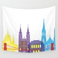 budapest Wall Tapestries featuring Budapest skyline pop by Paulrommer