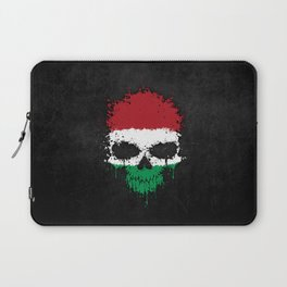 Flag of Hungary on a Chaotic Splatter Skull Laptop Sleeve