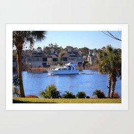 Palm Tree Boat Framed Art Print