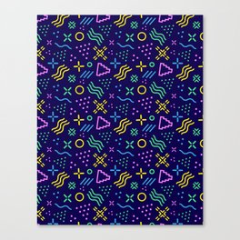 Retro 80s Shapes Pattern Canvas Print