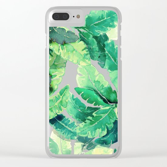 green summer leaves Clear iPhone Case