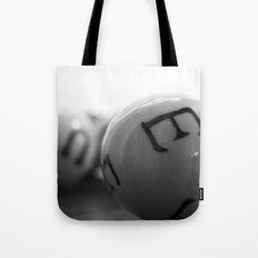 Black and White Spherical Balls Art with Letters Tote Bag