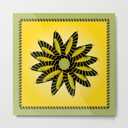 Yellow Stitched Flower Metal Print