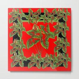 Decorative  Tropical Botanical Green Foliage Red-Black Art Metal Print