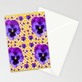 PURPLE PANSIES  FLOWERS & YELLOW PATTERNS  ART Stationery Cards