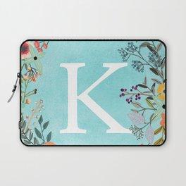 Personalized Monogram Initial Letter K Blue Watercolor Flower Wreath Artwork Laptop Sleeve
