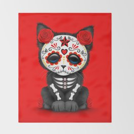 Cute Red Day of the Dead Kitten Cat Throw Blanket