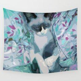 Nestled Kitten in Comforter Cloud Wall Tapestry