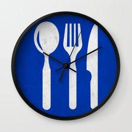 Blue food sign Wall Clock