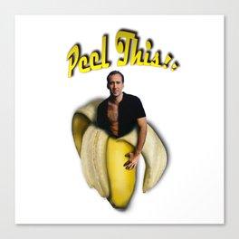 Nicolas Cage in a peeled banana Canvas Print