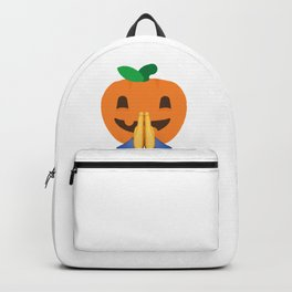 Praying Pumpkin Folded Hands Emoji Emoticon Halloween graphic Backpack