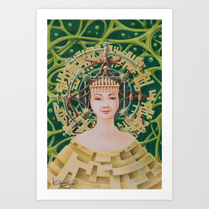 """Portrait with golden headpiece"" Art Print"