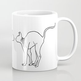 Sphynx Cat Arching Its Back - Naked Cat -  Simple Line - Minimal Coffee Mug