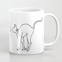 Sphynx Cat Arching Its Back - Naked Cat -  Simple Line - Minimal Coffee Mug