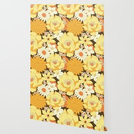 Yellow, Orange and Brown Vintage Floral Pattern Wallpaper
