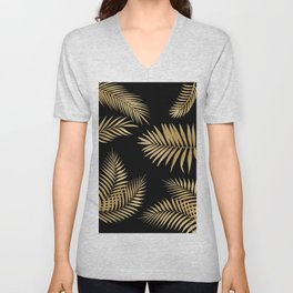 Golden and Black Palm Leaves Unisex V-Neck