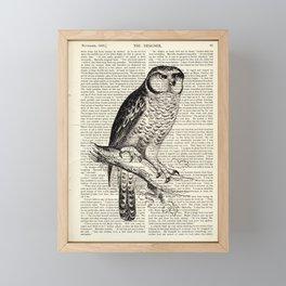 Book Art Page Owl Black & White Framed Mini Art Print