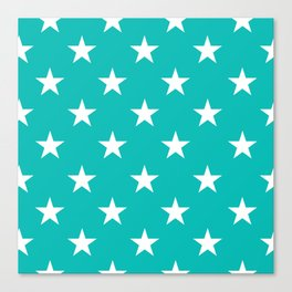 Stars (White/Tiffany Blue) Canvas Print