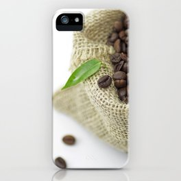 #Coffee #beans in #still life  in #Jute #sack iPhone Case
