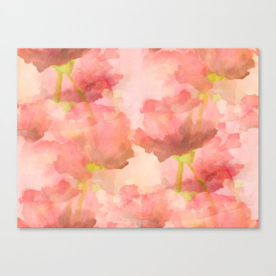 Delicate Pink Watercolor Floral Abtract Canvas Print