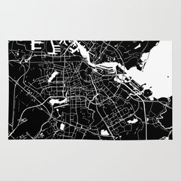 Amsterdam Black on White Street Map Rug
