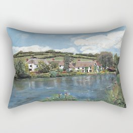 English Cottages by a River. Rectangular Pillow